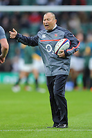 Eddie Jones, England Head Coach, with Forwards Coach Steve Borthwick, before the Old Mutual Wealth Series match between England and South Africa at Twickenham Stadium on Saturday 12th November 2016 (Photo by Rob Munro)