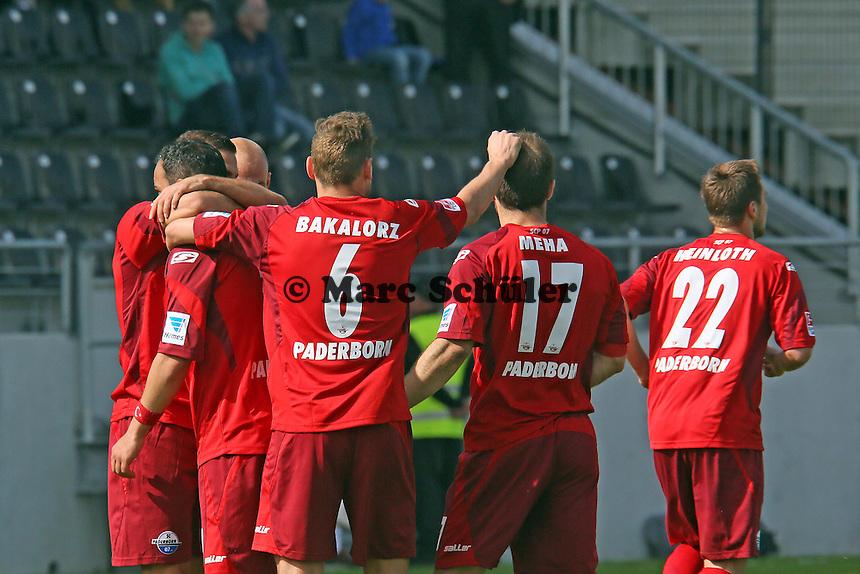 Torjubel Paderborn - FSV Frankfurt vs. SC Paderborn 07, Frankfurter Volksbank Stadion