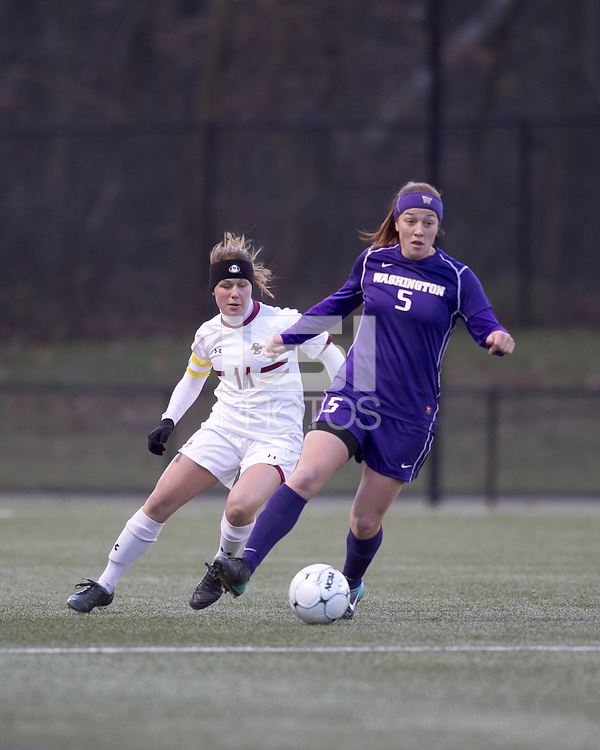"University of Washington forward Sarah Martinez (5) controls the ball as Boston College defender Hannah Cerrone (11) pressures. In overtime, Boston College defeated University of Washington, 1-0, in NCAA tournament ""Elite 8"" match at Newton Soccer Field, Newton, MA, on November 27, 2010."