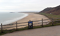 Pictured: Llangennith beach as seen from Rhossili. Monday 17 March 2014<br />