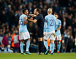 Manchester City's Gabriel Jesus argues with referee Antonio Mateu Lahoz at half time during the Champions League Quarter Final 2nd Leg match at the Etihad Stadium, Manchester. Picture date: 10th April 2018. Picture credit should read: David Klein/Sportimage
