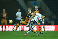 Preston North End's Lukas Nmecha is bundled of the ball by Hull City's Jordy de Wijs<br /> <br /> Photographer Stephen White/CameraSport<br /> <br /> The EFL Sky Bet Championship - Preston North End v Hull City - Wednesday 26th December 2018 - Deepdale Stadium - Preston<br /> <br /> World Copyright &copy; 2018 CameraSport. All rights reserved. 43 Linden Ave. Countesthorpe. Leicester. England. LE8 5PG - Tel: +44 (0) 116 277 4147 - admin@camerasport.com - www.camerasport.com