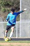 Palos Verdes, CA 02/09/12 - Tyler Eliel (Peninsula #1) in action during the West vs Peninsula Bay League boys varsity soccer game.