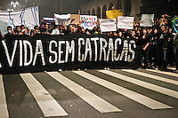 SÃO PAULO,SP,20 JUNHO 2013 - PROTESTO PASSE LIVRE - Manifestantes  realizam protesto na Pça dos Cilistas  na região da Av.Paulista em São Paulo, no final da tarde desta quinta- feira (20).FOTO ALE VIANNA - BRAZIL PHOTO PRESS