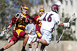Los Angeles, CA 02/20/10 -Macklen Lethin (USC # 29) and \L16\ in action during the USC-Loyola Marymount University MCLA/SLC divisional game at Leavey Field (LMU).  LMU defeated USC 10-7.
