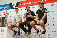 Glenn Ashby, JULY 21, 2016 - Sailing: Glenn Ashby, skipper/sailing director of Emirates Team New Zealand (centre) flanked by Jimmy Spithill, skipper Oracle Team USA and Dean Barker, skipper/CEO of SoftBank Team Japan during the Louis Vuitton America's Cup World Series press conference, Portsmouth, United Kingdom. (Photo by Rob Munro/Stewart Communications)