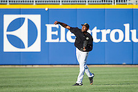 Denis Phipps (6) of the Charlotte Knights makes a throw from the outfield during fielding practice prior to the game against the Gwinnett Braves at BB&T Ballpark on April 16, 2014 in Charlotte, North Carolina.  The Braves defeated the Knights 7-2.  (Brian Westerholt/Four Seam Images)