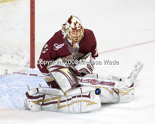 John Muse (BC - 1) - The Boston College Eagles defeated the Miami University Redhawks 4-3 in overtime on Sunday, March 30, 2008 in the NCAA Northeast Regional Final at the DCU Center in Worcester, Massachusetts.
