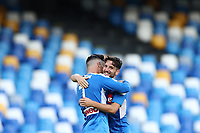 Jose Callejon of Napoli celebrates with Dries Mertens after scoring a goal during the Serie A football match between SSC  Napoli and SPAL at stadio San Paolo in Naples ( Italy ), June 28th, 2020. Play resumes behind closed doors following the outbreak of the coronavirus disease. <br /> Photo Cesare Purini / Insidefoto