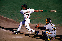 SAN FRANCISCO, CA - Marvin Benard of the San Francisco Giants bats during a game against the Pittsburgh Pirates in 1996 at Candlestick Park in San Francisco, California. (Photo by Brad Mangin)
