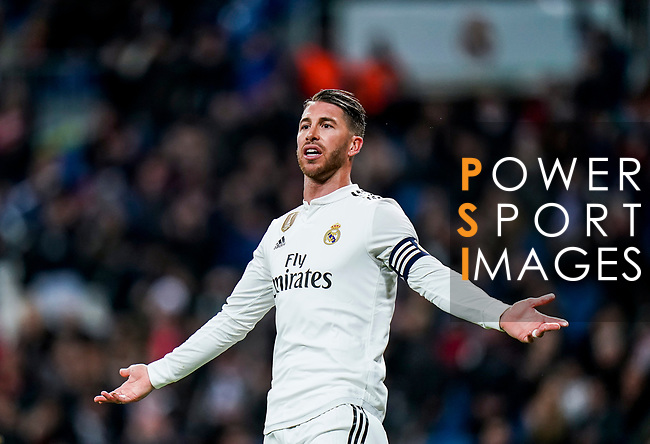 Sergio Ramos of Real Madrid reacts during the La Liga 2018-19 match between Real Madrid and Rayo Vallencano at Estadio Santiago Bernabeu on December 15 2018 in Madrid, Spain. Photo by Diego Souto / Power Sport Images