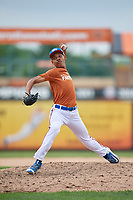 Ronaldo Guzman (14) delivers a pitch during the Dominican Prospect League Elite Underclass International Series, powered by Baseball Factory, on July 21, 2018 at Schaumburg Boomers Stadium in Schaumburg, Illinois.  (Mike Janes/Four Seam Images)