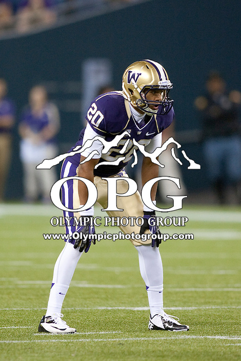 Sept 01, 2012:  Washington's #20 Justin Glenn against San Diego State.  Washington defeated San Diego State 21-12 at CenturyLink Field in Seattle, Washington...