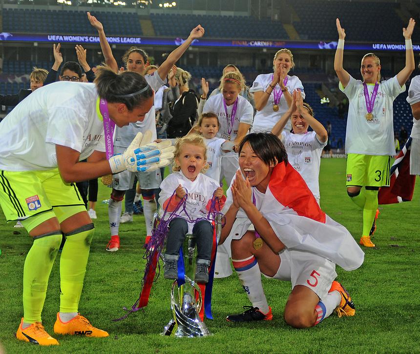 Olympique Lyonnais' Sarah Bouhaddi and Saki Kumagai with the UEFA Women's Champions League trophy<br /> <br /> Photographer Ashley Crowden/CameraSport<br /> <br /> UEFA Women's Champions League Final - Lyon Women v Paris Saint-Germain Women - Thursday 1st June 2017 - Cardiff City Stadium<br />  <br /> World Copyright &copy; 2017 CameraSport. All rights reserved. 43 Linden Ave. Countesthorpe. Leicester. England. LE8 5PG - Tel: +44 (0) 116 277 4147 - admin@camerasport.com - www.camerasport.com