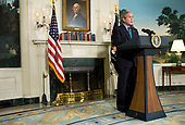 Washington, D.C. – September 30, 2008 -- United States President George W. Bush makes a statement on the Economic Rescue Plan in the Diplomatic Reception Room of the White House.<br /> Credit: Kristoffer Tripplaar- CNP