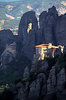 Kalambaka, Kastraki, Meteora, Greece, June 2006. Roussanou Monastery with Agios Nikolaos Anapafsas in the background. The Monastaries of Meteora can be found high on the steepest rocks. Photo by Frits Meyst/Adventure4ever.com