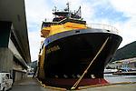 Loke Viking anchor handling tug ship in  the harbour at  Bergen, Norway