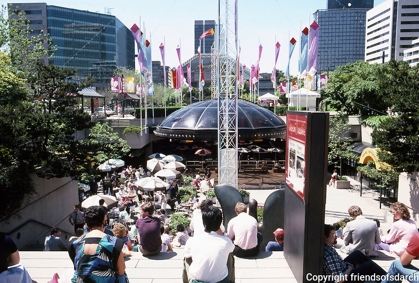 Vancouver: Law Courts--Robson Square. Looking south from top of steps. Photo '86.