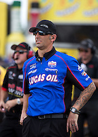 Sep 25, 2016; Madison, IL, USA; Crew chief Aaron Brooks for NHRA top fuel driver Richie Crampton during the Midwest Nationals at Gateway Motorsports Park. Mandatory Credit: Mark J. Rebilas-USA TODAY Sports