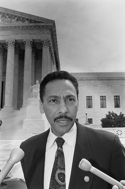 Rep. Mel Watt, D-N.C., in front of Supreme Court on April 1, 1993. (Photo by Laura Patterson/CQ Roll Call)