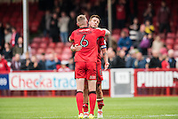 Jimmy Smith of Crawley Town (8) and Mark Connolly of Crawley Town (6) celebrate the win  during the Sky Bet League 2 match between Crawley Town and Luton Town at the Broadfield/Checkatrade.com Stadium, Crawley, England on 17 September 2016. Photo by Edward Thomas / PRiME Media Images.