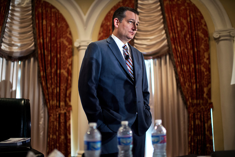 UNITED STATES - JUNE 18: Sen. Ted Cruz, R-Texas, prepares to address the Faith & Freedom Coalition's Road to Majority conference which featured speeches by conservative politicians at the Omni Shoreham Hotel, June 18, 2015. (Photo By Tom Williams/CQ Roll Call)