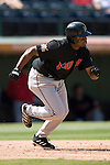 Indianapolis Indians center fielder Rajai Davis hustles down the first base line versus the Charlotte Knights at Knights Stadium in Fort Mill, SC, Sunday, August 13, 2006.