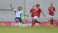 Katarina Naumanen of Finland battles with Lisa Naalsund of Norway during the UEFA Womens U19 Championships at Parc y Scarlets, Monday 19th August 2013. All images are the copyright of Jeff Thomas Photography-www.jaypics.photoshelter.com-07837 386244-Any use of images must be authorised by the copyright owner.