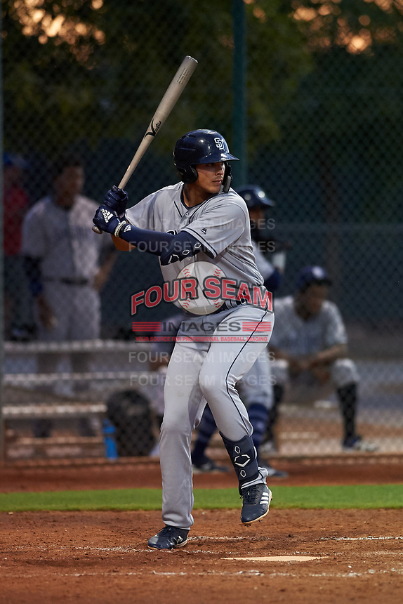 AZL Padres 1 Payton Smith (50) at bat during an Arizona League game against the AZL Indians Red on June 23, 2019 at the Cleveland Indians Training Complex in Goodyear, Arizona. AZL Indians Red defeated the AZL Padres 1 3-2. (Zachary Lucy/Four Seam Images)