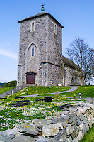 Norway, Roagaland, Avaldsnes. St. Olav's Church is a medieval church.