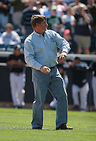 Roger Maris son Rudy Maris throwing out the first pitch for the New York Yankees vs the Pittsburgh Pirates March 18th, 2007 at Legends Field in Tampa, FL during Spring Training action.  Photo By Mike Janes/Four Seam Images