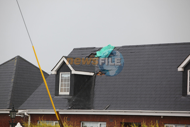 The Byrne family home outside Dromin Co Louth after being hit by lightening..Lucky escape for family as kids left bedroom seconds before lightening blasted through the roof and into one of the bedrooms in the family dormer bunglow..Photo: Fran Caffrey/www.newsfile.ie...