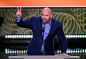 Dana White, President of the UFC, makes remarks at the 2016 Republican National Convention held at the Quicken Loans Arena in Cleveland, Ohio on Tuesday, July 19, 2016.<br /> Credit: Ron Sachs / CNP<br /> (RESTRICTION: NO New York or New Jersey Newspapers or newspapers within a 75 mile radius of New York City)
