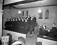 The New United Church in Hot Springs South Dakota. Images by Don Mueller. Interior and  exterior shots were taken between 1951-1961 for the purpose of a church booklet. <br /> Large format black and white film.