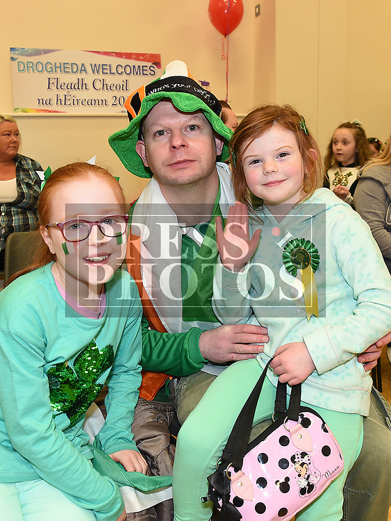 Mickey Rogers, Leah Winters and Aisling Kennedy at the Comhaltas Céilí in Ballsgrove Community Centre. Photo:Colin Bell/pressphotos.ie