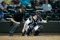 Winston-Salem Dash catcher Zack Collins (8) sets a target as home plate umpire Ryan Wilhelms looks on during the game against the Buies Creek Astros at BB&T Ballpark on April 15, 2017 in Winston-Salem, North Carolina.  The Astros defeated the Dash 13-6.  (Brian Westerholt/Four Seam Images)