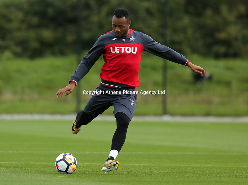 Jordan Ayew in action during the Swansea City Training at The Fairwood Training Ground, Swansea, Wales, UK. Wednesday 16 August 2017