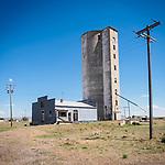 Abandoned grain elevators, Hollister, Idaho.