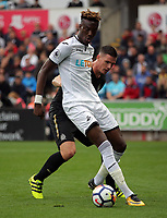 Tammy Abraham of Swansea City (FRONT) challenged by Ciaran Clark of Newcastle United during the Premier League match between Swansea City and Newcastle United at The Liberty Stadium, Swansea, Wales, UK. Sunday 10 September 2017