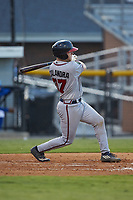 Mitch Calandra (37) of the Danville Braves follows through on his swing against the Burlington Royals at Burlington Athletic Stadium on August 9, 2019 in Burlington, North Carolina. The Royals defeated the Braves 6-0. (Brian Westerholt/Four Seam Images)