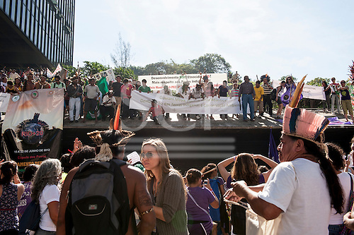Indigenous people and women's groups protest outside BNDES, the Brazilian Development Bank, following a march from the People's Summit at the United Nations Conference on Sustainable Development (Rio+20), Rio de Janeiro, Brazil, 18th June 2012. Photo © Sue Cunningham.