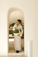 Fresh organic products from the vegetable garden are used daily and stored in a contemporary larder