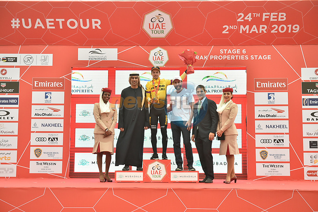 Race leader Primoz Roglic (SLO) Team Jumbo-Visma wins Stage 6 of the 2019 UAE Tour, running 175km form Ajman to Jebel Jais, Dubai, United Arab Emirates. 1st March 2019.<br /> Picture: LaPresse/Massimo Paolone | Cyclefile<br /> <br /> <br /> All photos usage must carry mandatory copyright credit (© Cyclefile | LaPresse/Massimo Paolone)
