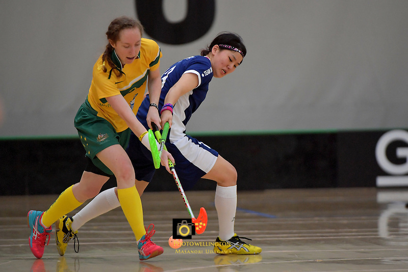 Australia's Vanessa Dwyer and Japan's Rei Goto in action during the World Floorball Championships 2017 Qualification for Asia Oceania Region Final - Australia v Japan at ASB Sports Centre , Wellington, New Zealand on Sunday 5 February 2017.<br /> Photo by Masanori Udagawa<br /> www.photowellington.photoshelter.com.