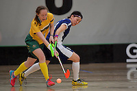 Australia&rsquo;s Vanessa Dwyer and Japan&rsquo;s Rei Goto in action during the World Floorball Championships 2017 Qualification for Asia Oceania Region Final - Australia v Japan at ASB Sports Centre , Wellington, New Zealand on Sunday 5 February 2017.<br /> Photo by Masanori Udagawa<br /> www.photowellington.photoshelter.com.