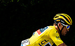 Race leader Yellow Jersey Greg Van Avermaet (BEL) BMC Racing Team in action during Stage 5 of the 2018 Tour de France running 204.5km from Lorient to Quimper, France. 11th July 2018. <br /> Picture: ASO/Alex Broadway | Cyclefile<br /> All photos usage must carry mandatory copyright credit (&copy; Cyclefile | ASO/Alex Broadway)