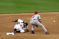 22 March 2009: #51 Ichiro Suzuki of Japan slides safely into second base as #2 Derek Jeter of USA catches the ball during the 2009 World Baseball Classic semifinal game at Dodger Stadium in Los Angeles, California, USA. Japan wins 9-4 over Team USA.