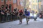 Tiesj Benoot (BEL) Lotto-Soudal and Thibaut Pinot (FRA) FDJ on the final brutal climb of Via Santa Caterina in Siena during the 2017 Strade Bianche running 175km from Siena to Siena, Tuscany, Italy 4th March 2017.<br /> Picture: Eoin Clarke | Newsfile<br /> <br /> <br /> All photos usage must carry mandatory copyright credit (&copy; Newsfile | Eoin Clarke)