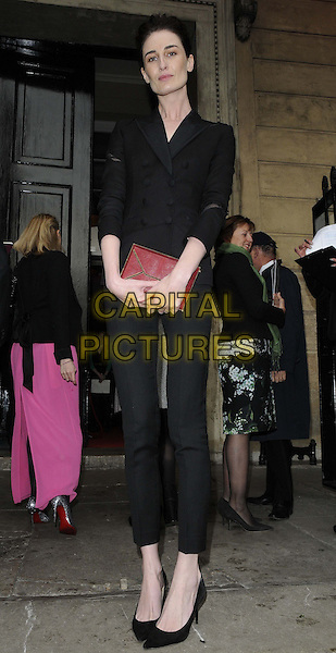 Erin O'Connor.attended the Natwest UK Fashion & Textile Awards 2013, One Mayfair, North Audley St., London, England, UK, 23rd May 2013..full length black jacket blazer trousers shoes double breasted red clutch bag .CAP/CAN.©Can Nguyen/Capital Pictures.