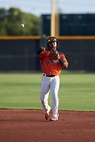 AZL Giants Orange second baseman Andrew Caraballo (1) during an Arizona League game against the AZL Mariners on July 18, 2019 at the Giants Baseball Complex in Scottsdale, Arizona. The AZL Giants Orange defeated the AZL Mariners 7-4. (Zachary Lucy/Four Seam Images)